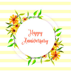 Watercolor floral happy anniversary frame vector