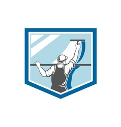 Window Cleaner Washer Worker Shield Retro vector image