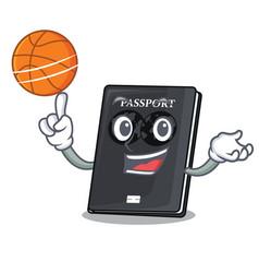 With basketball black passport in a cartoon bag vector