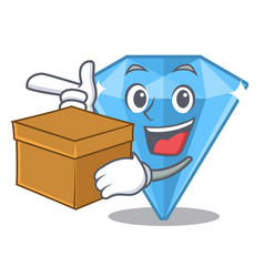 With box sapphire gems in cartoon shape vector