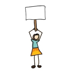 woman cartoon holding blank sign icon image vector image