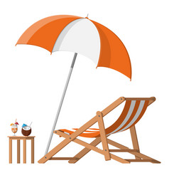 Wooden chaise lounge umbrella cocktail vector