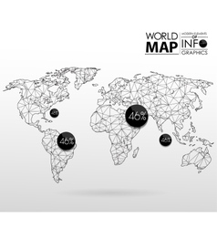 World map background in polygon vector image