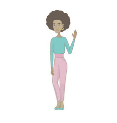 Young african-american hippie woman waving hand vector