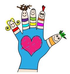 children hand puppets vector image vector image