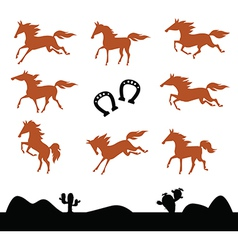 Collection Silhouettes of Horses vector image