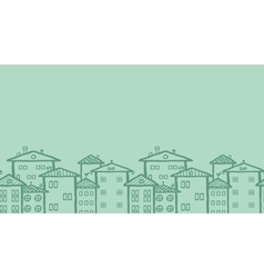 Doodle town houses horizontal seamless pattern vector image