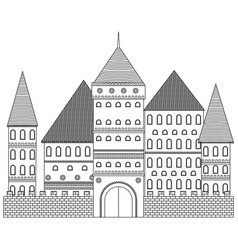 Medieval tower coloring book fortress vector
