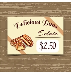 Price Tag Design Eclairs vector image vector image