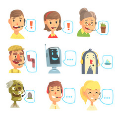 Set of funny call centre operators with headset vector