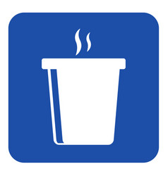 blue white sign - hot fastfood drink with smoke vector image
