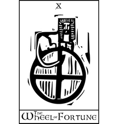Tarot Card Wheel of Fortune vector image