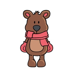 Winter bear with scarf and gloves vector image vector image