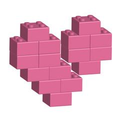building bricks in 3d broken heart vector image vector image