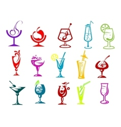 Cocktails with straws fruits and umbrella vector image