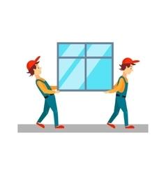 Delivery men carrying window vector