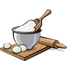 flour and eggs vector image