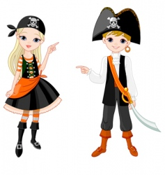halloween pirate couple pointing vector image vector image
