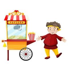 Man and popcorn vendor vector image vector image