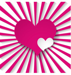 pink background with rays and hearts vector image vector image