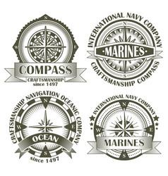 set of vintage compasses vector image