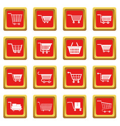 shopping cart icons set red vector image vector image
