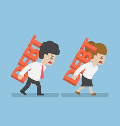 businessman and woman carrying debt on the back vector image