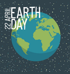 earth day poster design in flat style planet in vector image