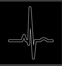 heart rhythm ekg white color path icon vector image