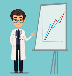 Medical doctor in glasses and white coat pointing vector