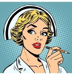 nurse writes diagnosis vector image vector image