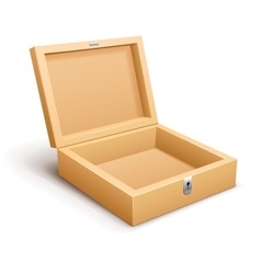Open empty wooden box isolated vector image vector image