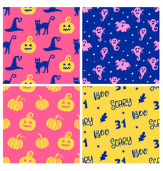 set of halloween seamless patterns vector image vector image