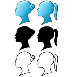 Woman Head Icon and Silhouette Pack vector image vector image