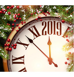 2019 new year background with clock and fir vector