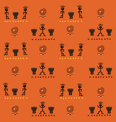 African seamless pattern with funny ethnic charact vector