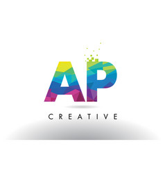 Ap a p colorful letter origami triangles design vector