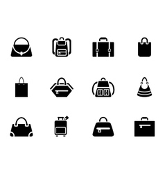 Assortment of Black Baggage Icons vector