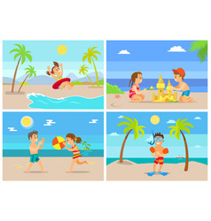 beach vacation children playing seaside set vector image