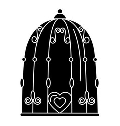 Bird cage with hearts vector