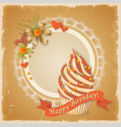 birthday card with cake hearts and ribbon vector image