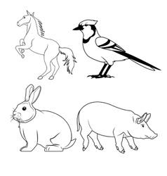 Black and white animals icon set vector