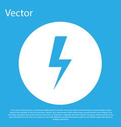 blue lightning bolt icon isolated on blue vector image