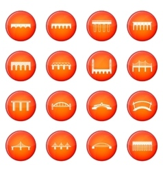 Bridge set icons set vector