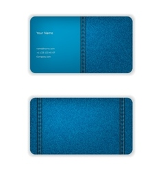 Business card from denim blue face and seamy vector image