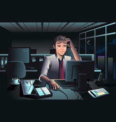 businessman working late at night in office vector image