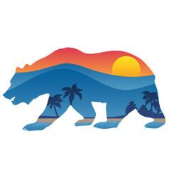 California bear with mountain shoreline overlay vector