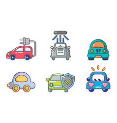car icon set cartoon style vector image