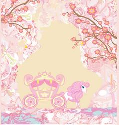 Carriage - vintage floral card vector