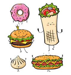cartoon fast food unhealthy burger hamburger vector image